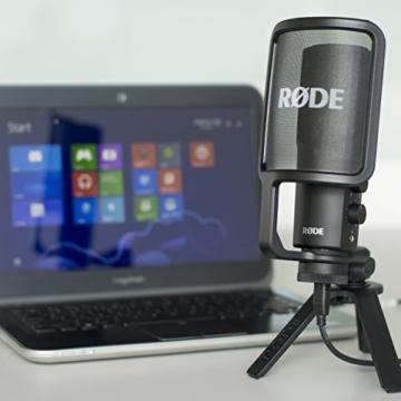 Rode NTUSB Studioqualität USB-Kondensatormikrofon mit Tischstativ und Popschutz -